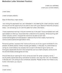 Sample Volunteer Letter Cover Letter Template Volunteer Position Writing A Cover