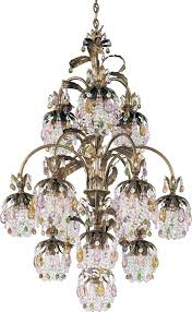 rondelle 13 light 110v chandelier in antique silver with soft jewel vintage crystal