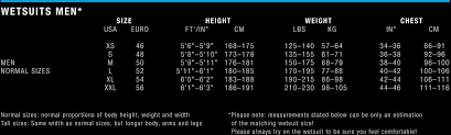 Ion Mens Size Chart Watersports