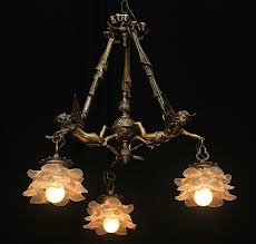 vintage bronze french shabby flying chic cherub chandelier with with regard to popular vintage french chandeliers