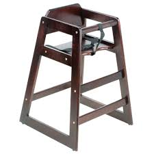 lancaster table seating unassembled stacking restaurant wood high chair with dark finish