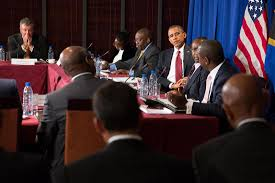 president barack partites in a ceo roundtable at the hyatt kilimanjaro