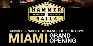 hammer and nails logo. hammer \u0026 nails grooming shop for guys: miami grand opening tickets, thu, jun 15, 2017 at 6:00 pm | eventbrite and logo