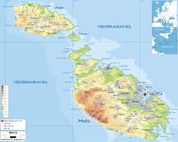physical map of malta  ezilon maps