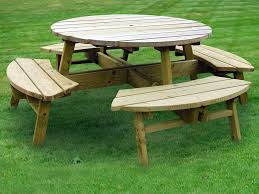 round wood patio table with benches