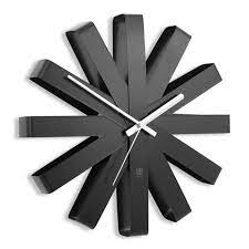 ribbon modern black wall clock by umbra