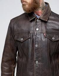 levis au levis leather trucket jacket buff rustic men buff rustic