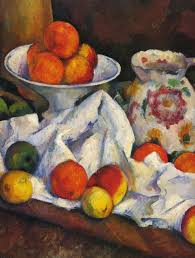 still life fruits jug fruit dish detail paul cezanne