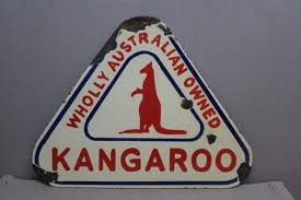 wholly australian owned kangaroo triangle porcelain sign