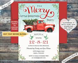 Christmas Inviations Vintage Red Truck Christmas Invitation Merry Christmas Social Invitation Templates Editable