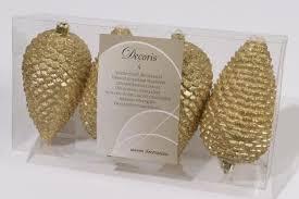 4er Set Glitter Tannenzapfen Kunststoff Gold 12x7cm