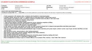 cylinder filler resume work experience