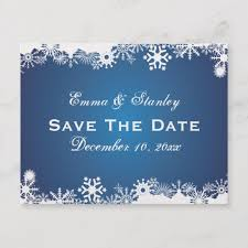 Winter Wedding Save The Date Snowflake Blue White Winter Wedding Save The Date Announcement