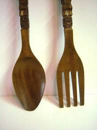 large wood spoon and fork wall art