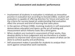 a critical analysis of student s self assessment and  a critical analysis of student s self assessment and