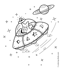 Small Picture UFO spacecraft coloring pages with alien for kids printable free