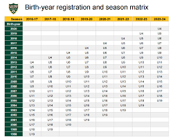 Us Youth Soccer Birth Year Chart Age Group Chart Castro Valley Soccer Club