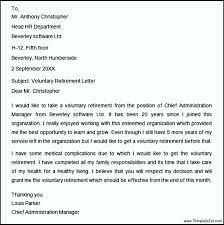 voluntary retirement letter letter of retirement