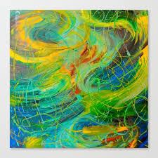 nautical galaxy beautiful aquatic blue green ocean universe abstract acrylic painting gift decor canvas print