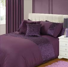 king size bed freya duvet quilt cover bedding set pleated purple aubergine plum plain satin crushed pleats co uk kitchen home