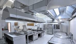 Industrial Kitchen Interior Long Stainless Vent Hood Industrial In An Industrial