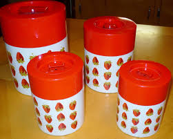 2 of 6 vintage metal kitchen canister set nesting containers japan strawberry fruit red