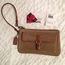 Coach Soho Suede Buckle Wristlet with Leather Trim