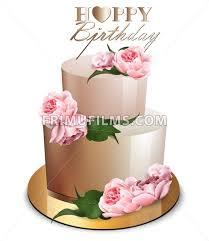 Happy Birthday Cake Vector Realistic Anniversary Wedding Ceremony