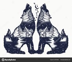 Dva Vlci Dvojitá Expozice Tetování Tričko Design Symbol Turistika