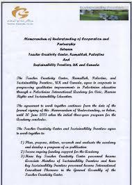 Sustainability Frontiers - Memorandum Of Understanding