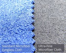 standard eyeglass cleaning cloth compared to an ultra fine microfiber lens cleaning cloth