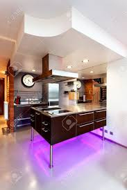 New Modern Kitchen New Modern Kitchen Appliance With Neon Lights Stock Photo Picture