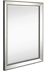 mirror frame. Large Framed Wall Mirror With Angled Beveled Frame And Beaded Accents | Premium Silver Backed