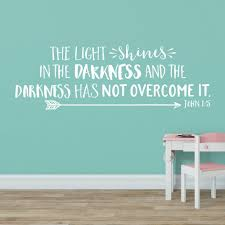 Us 4 34 13 Off John 1 5 The Light Shines In The Darkness Vinyl Wall Decal Nursery Bible Verse Kids Room Decor In Wall Stickers From Home Garden On