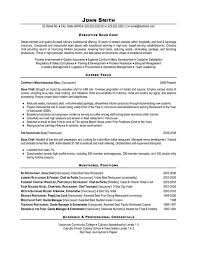 Chef Resume Example Epic Sample Resume For A Chef Free Resume