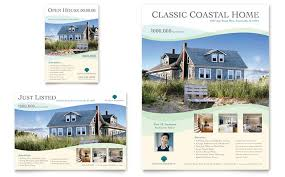 real estate ad coastal real estate flyer ad template design