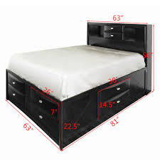 Costway Queen Size Bed Storage Drawers Bookcase Headboard Bedroom Furniture 1 Costway: