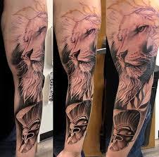Gladiator Lion Helmet Tattoo