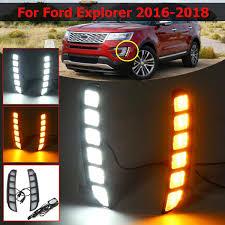 2016 Ford Explorer Led Fog Lights Car Led Drl For Ford Explorer 2016 2017 2018 Daytime Running Light Turn Drl Front Bumper Driving Fog Lamp Blink Flashing Dayligh