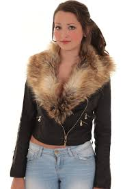 las detachable faux fur collar women s crop synthetic leather biker jacket