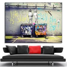 large size banksy art life is short chill the duck out painting prints on canvas modern kids with dustbin wall art home decor in painting calligraphy from
