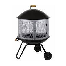 fire sense black silver steel outdoor wood burning fireplace