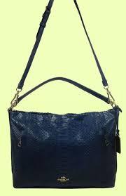 COACH 35326 Scout Denim Blue Python Leather Hobo Shoulder Bag Msrp  495