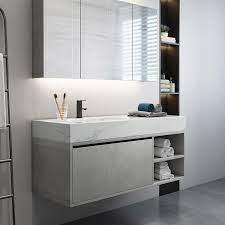 35 47 Floating Bathroom Vanity With Top Wall Mounted Vanity Cabinet Single Sink Vanity With Drawer Undermount Sink Bathroom Vanities Bath Faucets