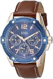 guess men s u0600g3 casual sport multi funciton watch day guess men s u0600g3 casual sport multi funciton watch day date int l time rose gold tone accents blue top ring honey brown leather strap