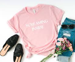 Screaming Inside Funny Tshirts Instagram Tumblr T Shirt Womens Graphic Tees Shirts For Teens Girls Gifts For Her Screen Print Women Tshirt