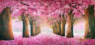 Cherry Blossom Backdrop Cherry Blossom Trail Scenic Stage Backdrop Rental