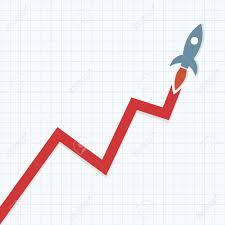 Profit Graph With Space Rocket
