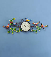 metal sparrow art wall clock by
