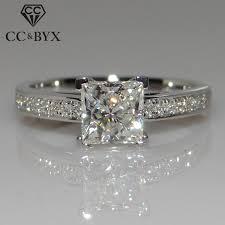 CC Women Rings <b>S925</b> Sterling Silver Cubic Zirconia <b>Round</b> Stone ...